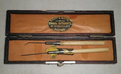 Antique Sharp & Smith Surgical Instruments In Case 1890