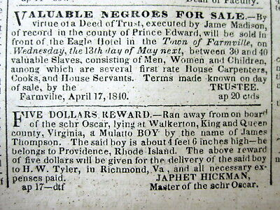 1840 Richmond VIRGINIA newspaper w AD  SLAVES FOR SALE in Prince Edwards County