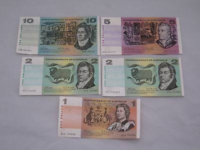 Lot of 5 Australia Banknotes ($20.00 Face Value)