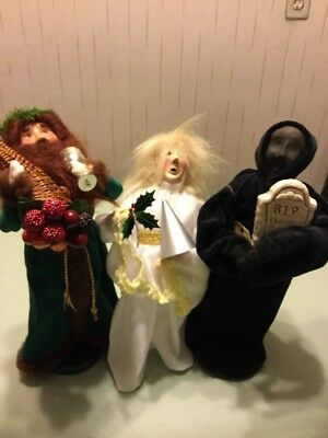 3 Vintage Byers Choice Dickens Christmas Carol Ghosts Of Past-Present - Future