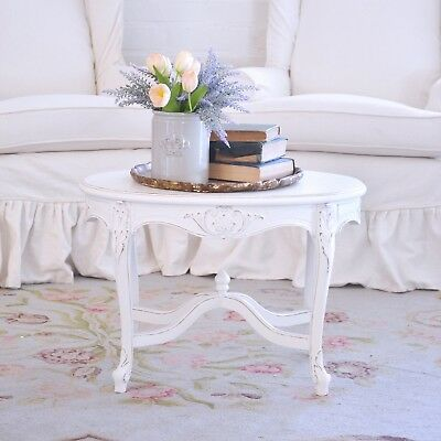 Shabby Cottage Chic Oval Side Table French Style Vintage White Petite