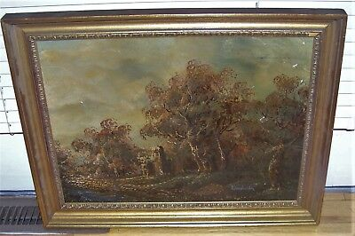 Vintage Impressionist Church Ruin Castle Oil On Canvas Painting Landwehr
