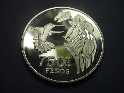 Colombia 750 Pesos Hummingbird Conservation 1978 Proof