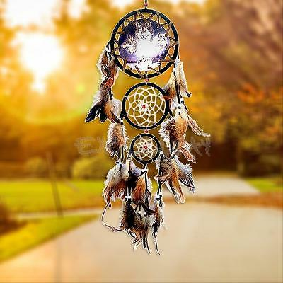 """New Dream Catcher With Feathers 27"""" Wall Hanging Decoration Gift Ornament-Wolf"""