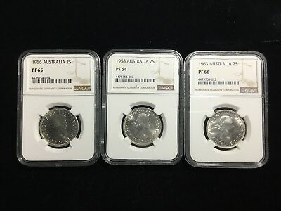 Ngc Pf 66 Proof Australia Florin 1956 1958 1963 Silver 39397, 39402, 39416 Group