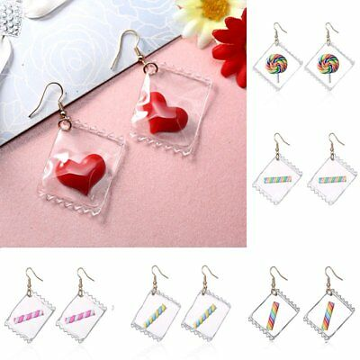 Fashion Funny Cotton Candy Heart Hook Earrings Woman Jewelry Christmas Gift New
