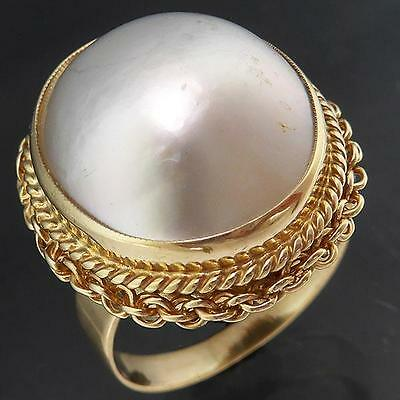 Bold Oval Ornate 9k Solid Yellow GOLD MABE / BLISTER PEARL COCKTAIL RING Sz P