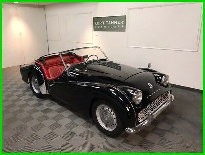 1960 Triumph TR3 TR3A Roadster, 4-Seed 1959 TRIUMPH TR3A SPORTS ROADSTER. BLACK WITH RED TRIM. NICE DRIVER. 31,752 MILE
