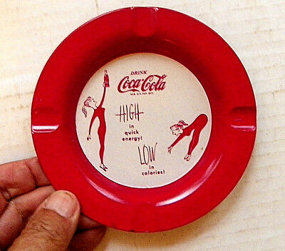 """1950's """"DRINK COCA-COLA - HIGH IN QUICK ENERGY! ~  LOW IN CALERIES"""" TIN ASHTRAY"""