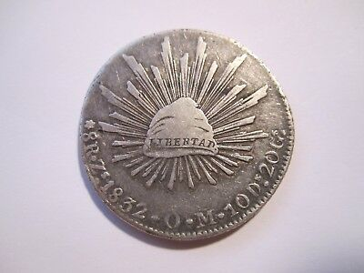 1832 MEXICO 8 Reales, ZsOM SILVER, 3/1 VARIETY, FREE SHIPPING, NO RESERVE AUCT.
