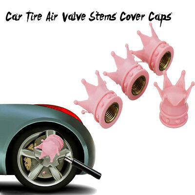 4Pcs Universal Pink Crown Style Car Tire Air Valve Stems Cover Caps Wheel Rims