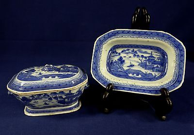 Antique 19C Chinese Export Porcelain Canton Covered Gravy Tureen & Underplate