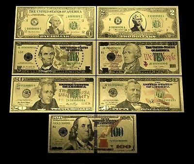 24K Gold Plated Us Currency Dollar Bill Set 1/2/5/10/20/50/100 Novelty Money Set