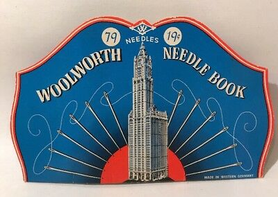 Original Vintage ANTIQUE SEWING Woolworth Dime Store Needles Book  Empire State