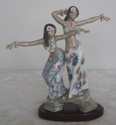 """Lladro Tahitian Dancing Girls 12 1/4"""" Figurines With Wood Stand 01001498"""