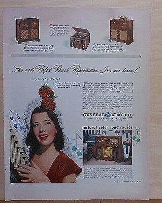 1947 magazine ad for GE radios - Models 417Aradio, Lilly Pons, phonographs