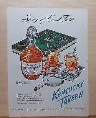 1948 magazine ad for Kentucky Tavern Bourbon  - Stamp collecting themed ad