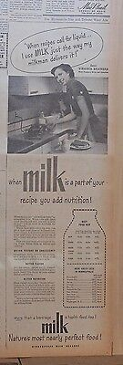 Large 1951 newspaper ad for Minneapolis Milk Dealers - Add nutrition with Milk!