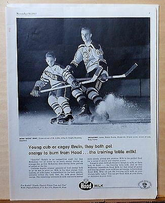 1962 magazine ad for Hood Milk - Hockey player Don McKenney & boy Butchie on ice