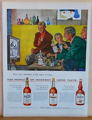 1955 magazine ad for 3 different Whiskies - Alex Ross art, Glenmoore Distillers