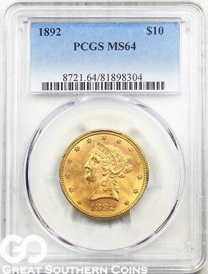 1892 Gold Eagle, $10 Gold Liberty PCGS MS 64 ** VERY Nice, Lustrous, Free S/H!