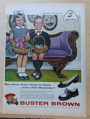1959  magazine ad for Buster Brown Shoes - children at Easter by Alex Ross