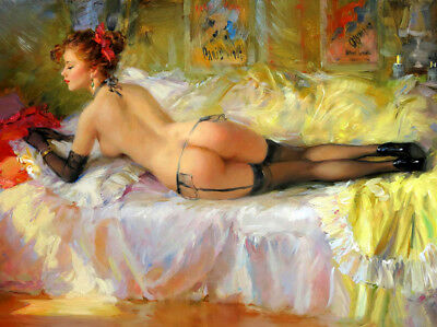 Canvas print Nues lady in the bed oil painting HD printed on canvas L1645