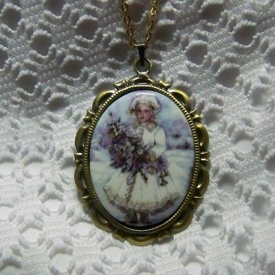 Victorian Snow Princess Pendant Necklace, Porcelain Cameo Christmas Girl Jewelry