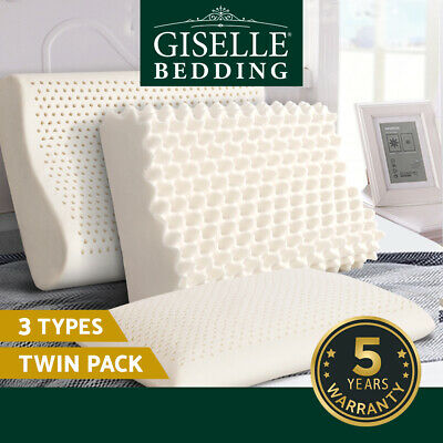 Giselle Bedding 100% Natural Latex Pillows Egg Crate Bed Sleeping Contour Cover