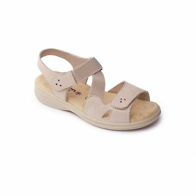 230834be29cf Padders LOUISE 2 Ladies Womens Touch Fasten Extra Wide Fit (3E) Sandals  Beige