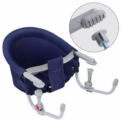 Blue Foldable Baby Hook On Chair Booster Fast Table Chair Portable Carrying Bag