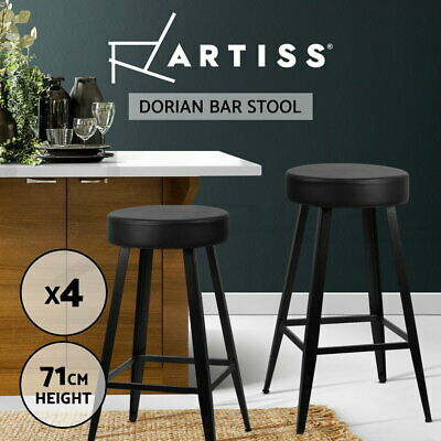 4x DORIAN Bar Stools Retro Bar Stool Leather Dining Chair Round Steel 71cm Black