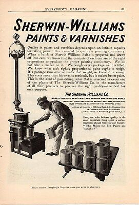1908 Sherwin Williams Ad-Painter Weighs Paint Cans