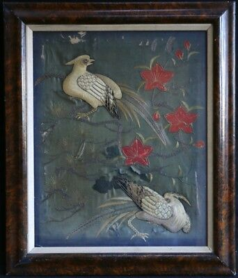 PAIR of 18th CENTURY CHINESE SILK EMBROIDERY PANELS BIRDS IN TREES - UNUSUAL