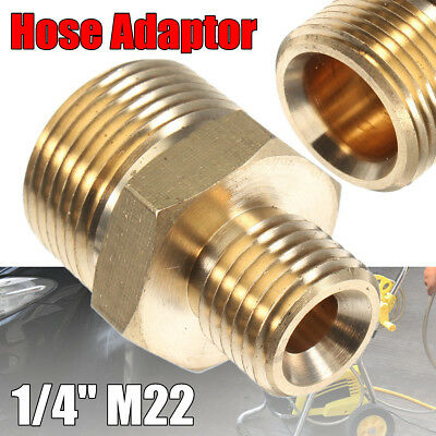 "1/4"" Male x M22 Male Adaptor Pressure Washer Hose Connect Coupling For Karcher"