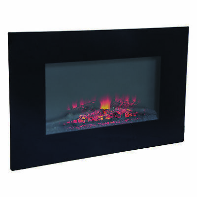 Charles Bentley 1500W Electric Wall Mounted LED Black Fireplace Remote control