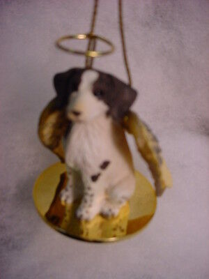 BRITTANY Spaniel DOG ANGEL Ornament HANDPAINTED Resin Figurine liver brown white