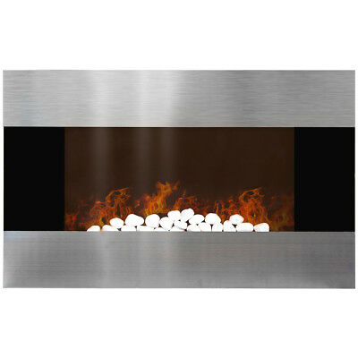 Charles Bentley 1500W LED 90cm Wall Mounted Electric Fire With Remote Control