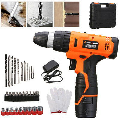 Cordless Rechargeable Battery Electric Drill Hammer Variable Speed Driver+ Bits