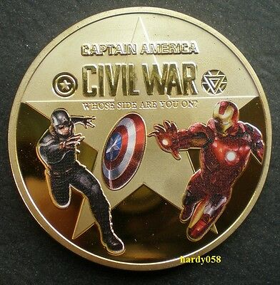 ★ CAPTAIN AMERICA vs IRON MAN Civil war -coin 24kt Gold Plated 1oz Proof quality