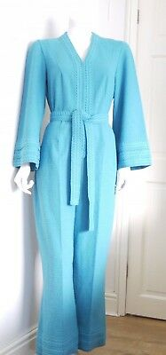 Vintage 1970 Jumpsuit - Long maxi flares -  Turquoise Jersey - size S - 10