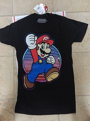 Super Mario 100% Cotton Black Tagless T-Shirt Size Small New $20 Monthly Deal