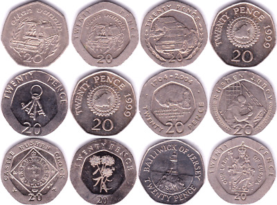 Regional Issue Gibraltar Jersey Guernsey IOM 20p Twenty Pence Circulated Coins