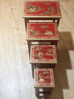 Mottled Red Artistry Design Nest of 4 Tables Lacquer Chinese Oriental Furniture