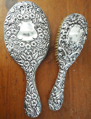 Lovely Solid Silver Hand Mirror & Hair Brush Sterling Silver Hallmarks