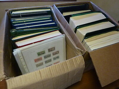 COMMONWEALTH, HUGE STAMP COLLECTION IN 2x LARGE BOX, 15x OLD ALBUM, 1000's SETS