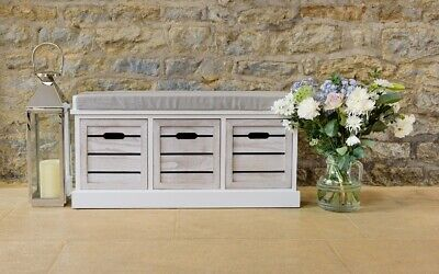 White Three Drawer Crate Bench Slatted Seating Hallway Bedroom Storage Cushion P