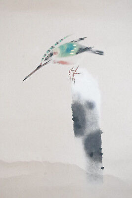 KINGFISHER HANGING SCROLL - HAND-PAINTED SIGNED Japanese Zen Gado Brush Painting