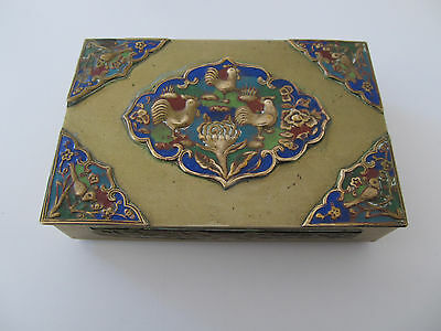 Vintage Gold Toned Chinese Enamel Rooster Trinket Box