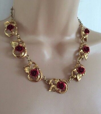 Vintage Circa 1970's Beautiful Gold Tone & Red Roses Choke Style Necklace
